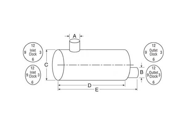 Nelson Global Standard Line Muffler | Type 5 Muffler - Side