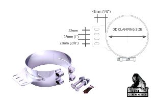 Silverback Chrome   Monster Stainless Chrome Clamps KW 4 Hole