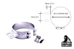 Silverback Chrome   Monster Stainless Chrome Clamps PBS Style